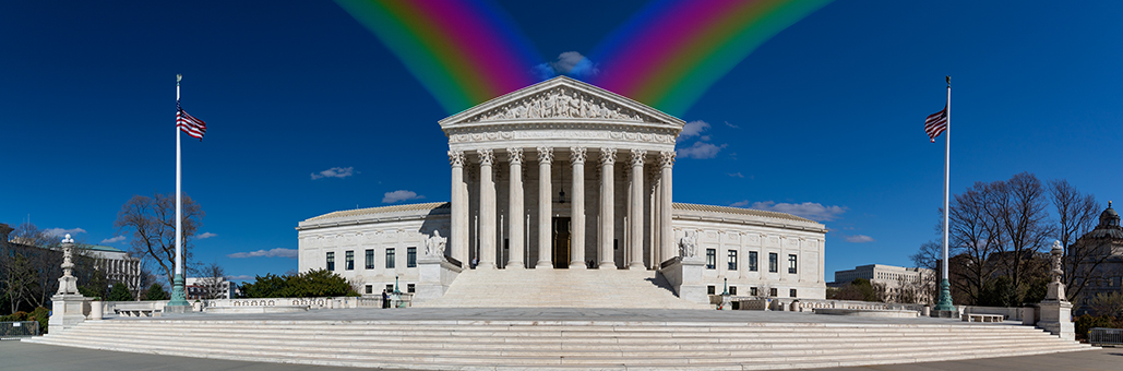 Rainbows behind Supreme Court